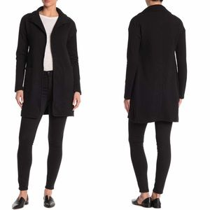 James Perse Black Open Front Sweatshirt Coat